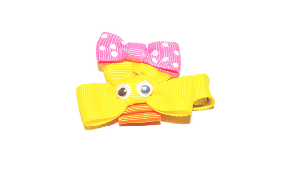 Animal and Bug Easter Ribbon Sculpture Hair Clip - Yellow Duck Face 2 - Dream Lily Designs