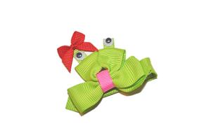 Animal and Bug Ribbon Sculpture Hair Clip - Frog with Red Bow