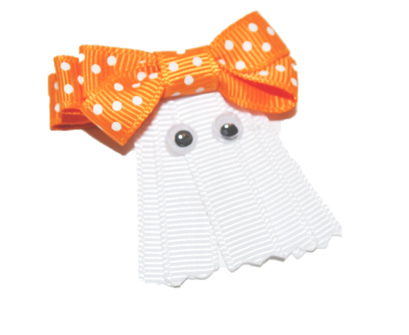 Holiday Halloween Ribbon Sculpture Hair Clip - White Ghost