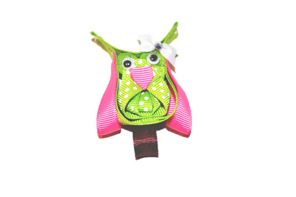 Animal and Bug Ribbon Sculpture Hair Clip - Green Pink Owl - Dream Lily Designs