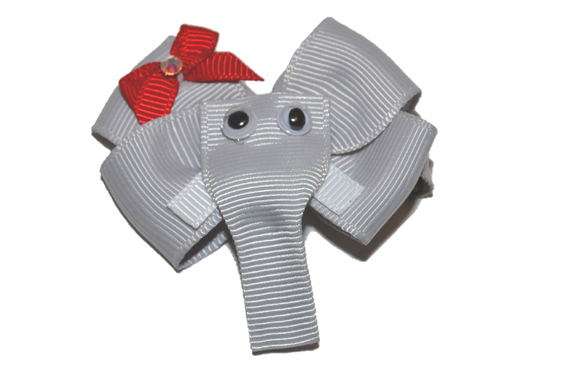 Animal and Bug Ribbon Sculpture Hair Clip - Light Grey Elephant