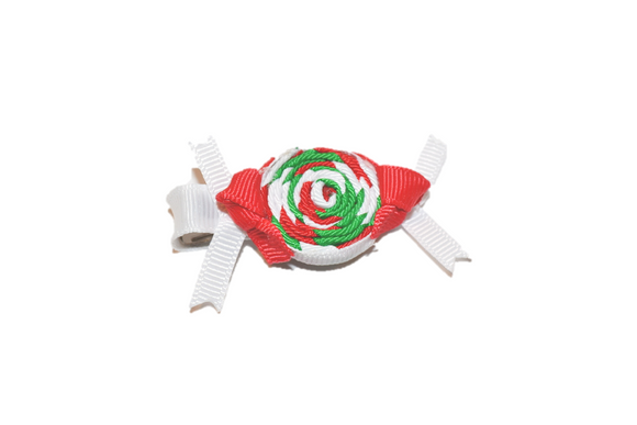 Holiday Christmas Ribbon Sculpture Hair Clip - Red White Green Candy - Dream Lily Designs