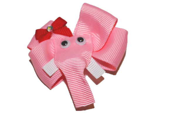 Animal and Bug Ribbon Sculpture Hair Clip - Pink Elephant