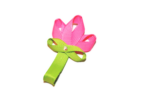 Misc Ribbon Sculpture Hair Clip - Pink Flower - Dream Lily Designs