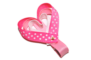 Holiday Valentine's Day Ribbon Sculpture Hair Clip - Pink Heart - Dream Lily Designs