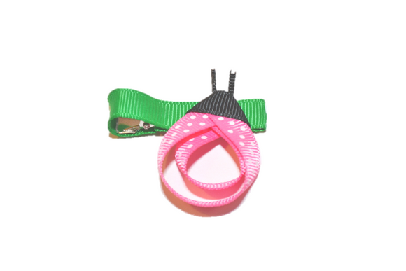 Animal and Bug Ribbon Sculpture Hair Clip - Bubblegum Pink Ladybug