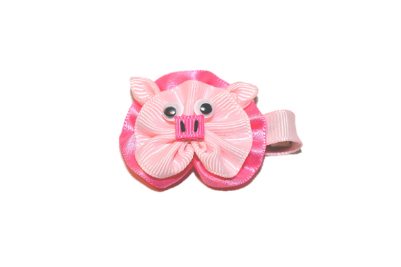 Animal and Bug Ribbon Sculpture Hair Clip - Pink Pig