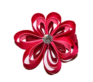 Misc Ribbon Sculpture Hair Clip - Hot Pink Fushia Flower - Dream Lily Designs