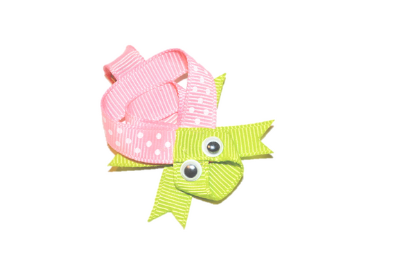 Animal and Bug Ribbon Sculpture Hair Clip - Pink Green Turtle