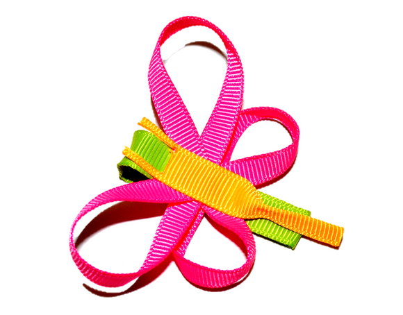 Animal and Bug Ribbon Sculpture Hair Clip - Pink Dragonfly
