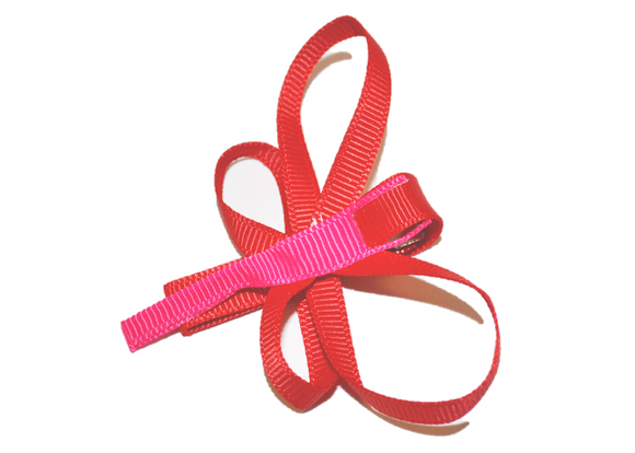 Animal and Bug Ribbon Sculpture Hair Clip - Red Dragonfly