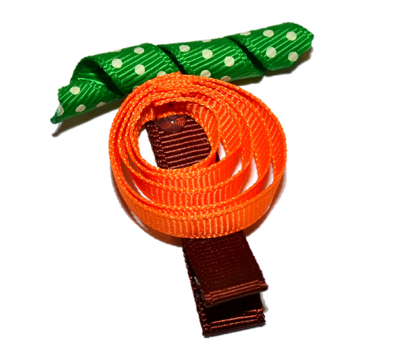Holiday Halloween Ribbon Sculpture Hair Clip - Flat Pumpkin - Dream Lily Designs