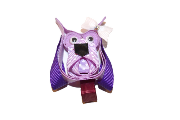 Animal and Bug Ribbon Sculpture Hair Clip - Purple Owl