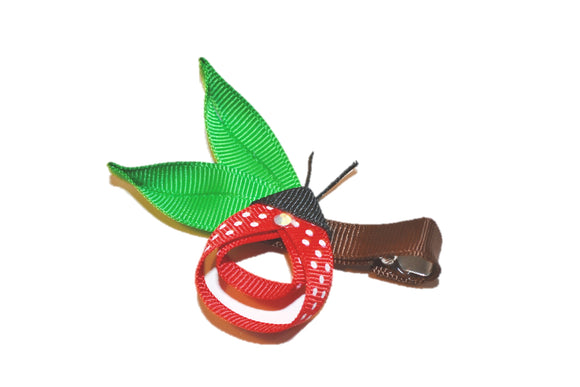 Animal and Bug Ribbon Sculpture Hair Clip - Ladybug on Leaf