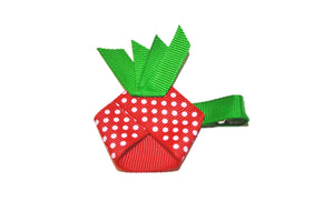Food Ribbon Sculpture Hair Clip - Red Pineapple Strawberry - Dream Lily Designs