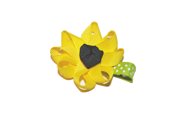 Misc Ribbon Sculpture Hair Clip - Sunflower - Dream Lily Designs