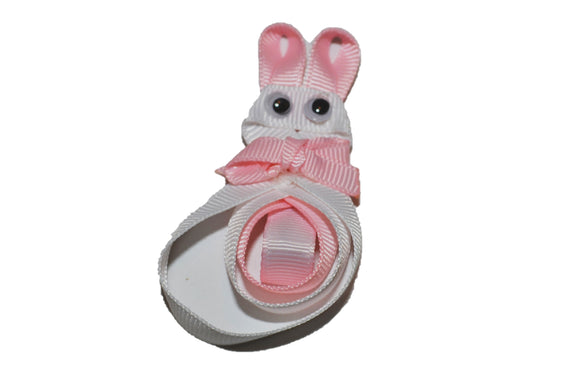 Animal and Bug Easter Ribbon Sculpture Hair Clip - White Bunny