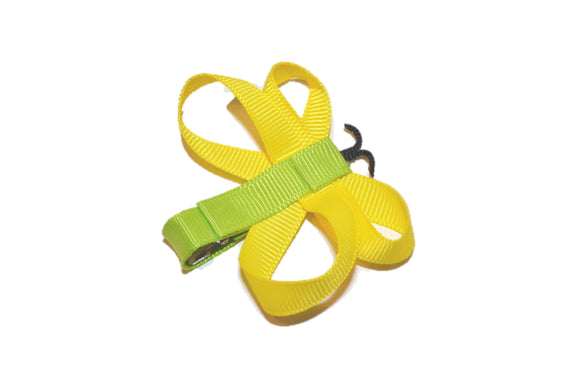 Animal and Bug Ribbon Sculpture Hair Clip - Yellow Butterfly