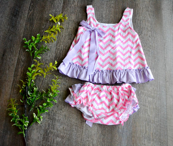 Girls Romper Top with Diaper Cover - Pink Chevron with Purple Trim - Dream Lily Designs