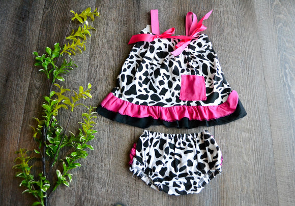 Girls Romper Top with Diaper Cover - Cow Print with Hot Pink Trim - Dream Lily Designs