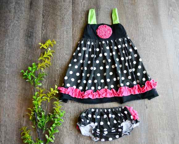 Girls Dress with Diaper Cover - Black and White Polka Dot with Hot Pink Trim - Dream Lily Designs