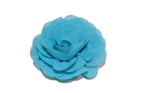 Bright Blue Rose Chiffon Clip - Dream Lily Designs