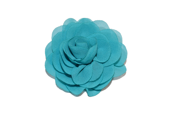 Teal Rose Chiffon Clip - Dream Lily Designs