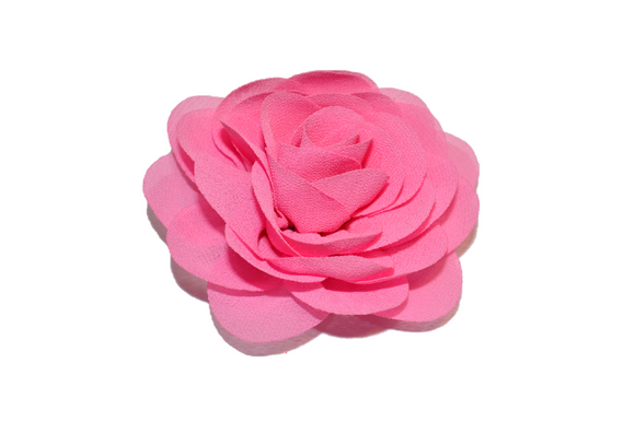 Bubblegum Pink Rose Chiffon Clip - Dream Lily Designs