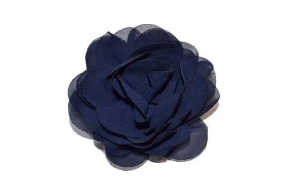 Navy Blue Rose Chiffon Clip