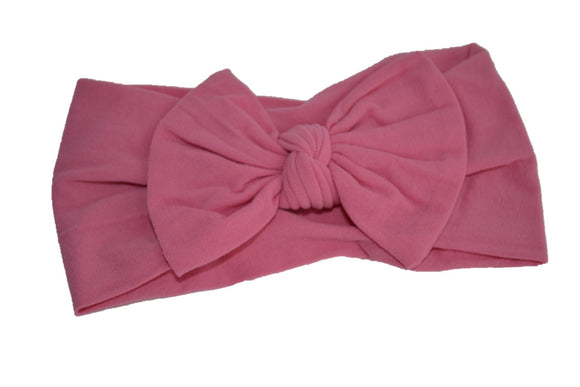 Rose Pink Nylon Bow Knot Baby Wide Headband - Dream Lily Designs