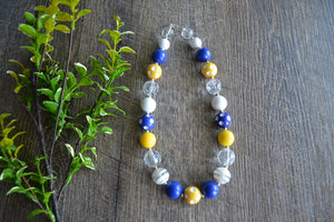 "Blue Yellow White Chunky ""Bubblegum Bead"" Necklace - Dream Lily Designs"