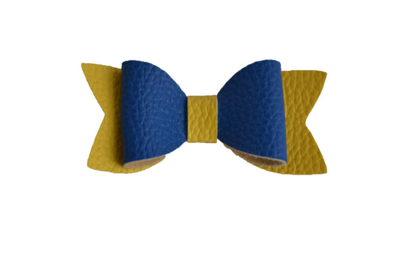 Royal Blue Yellow Leather Hair Bow - Dream Lily Designs
