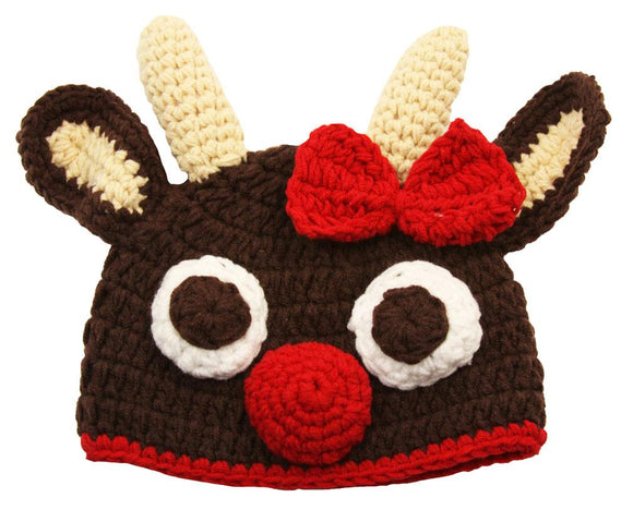 Rudolph Crochet Hat - Dream Lily Designs