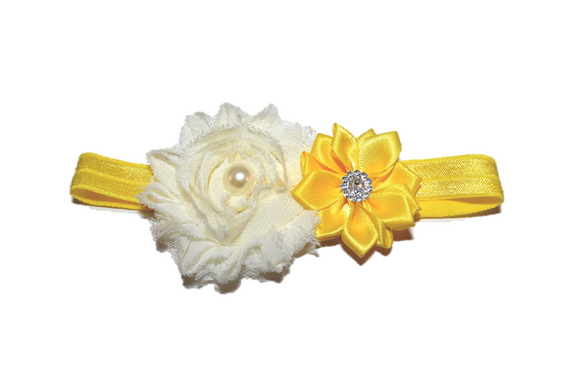 Shabby Crystal Pearl Flower Headband - Yellow Ivory