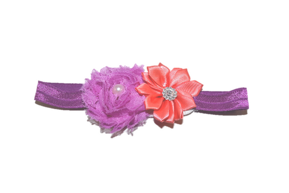 Shabby Crystal Pearl Flower Headband - Purple Coral
