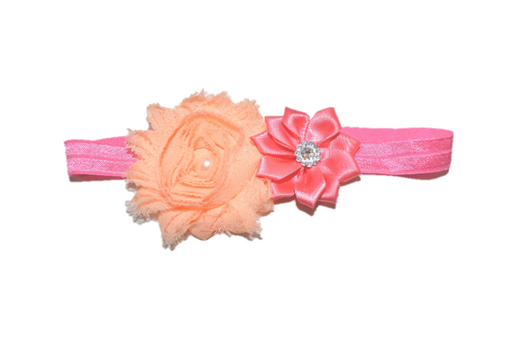 Shabby Crystal Pearl Flower Headband - Coral Peach