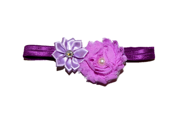 Shabby Crystal Pearl Flower Headband - Fushia Purple