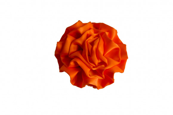 Large Silk Ruffle Flower Hair Clip - Orange - Dream Lily Designs