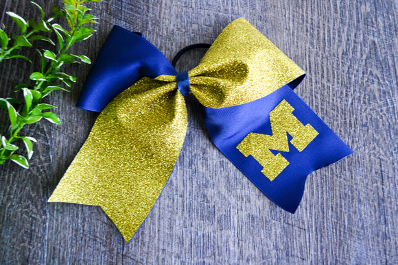 Navy and Yellow Gold Sparkle Cheer Bow - Dream Lily Designs