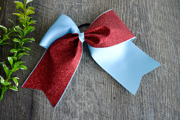 Light Blue and Red Sparkle Cheer Bow - Dream Lily Designs
