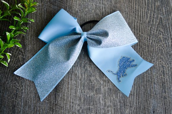 Light Blue and Silver Sparkle Cheer Bow - Dream Lily Designs