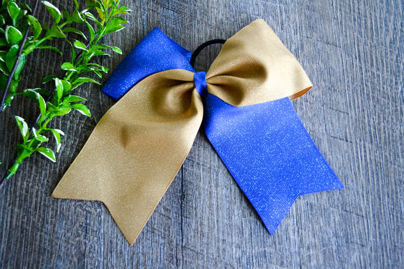 Royal Blue and Gold All Glitter Cheer Bow - Dream Lily Designs