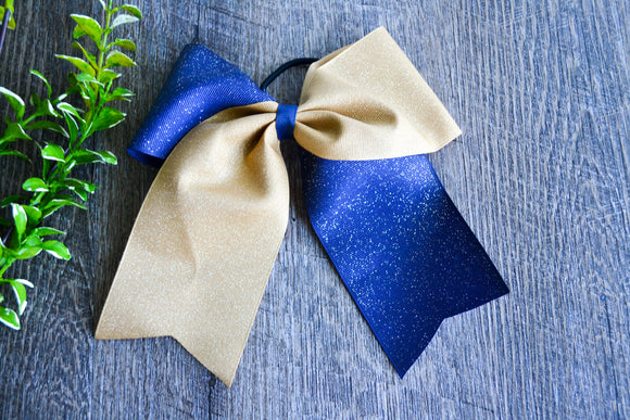 Navy and Gold All Glitter Cheer Bow - Dream Lily Designs