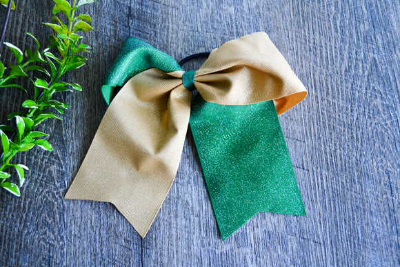 Green and Gold All Glitter Cheer Bow - Dream Lily Designs