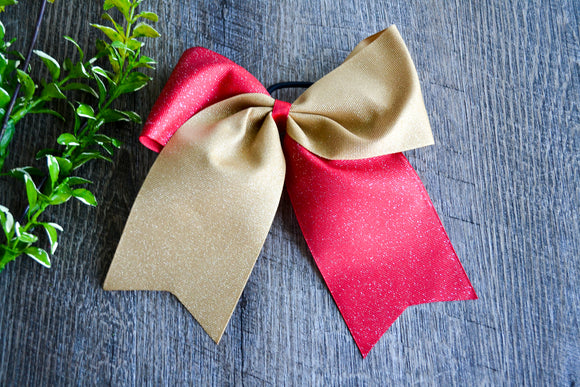 Red and Gold All Glitter Cheer Bow - Dream Lily Designs