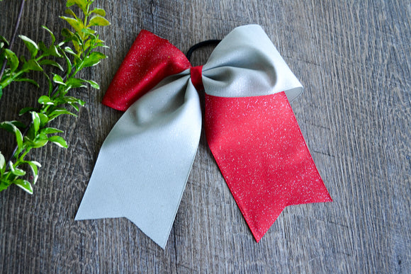 Red and Grey All Glitter Cheer Bow - Dream Lily Designs