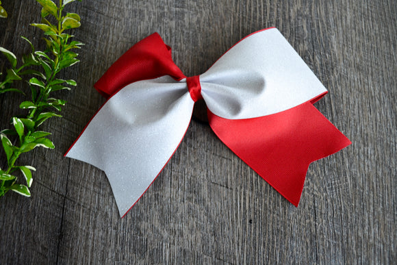 Red and White Sparkle Cheer Bow - Dream Lily Designs