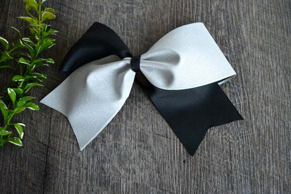 Black and White Sparkle Cheer Bow - Dream Lily Designs