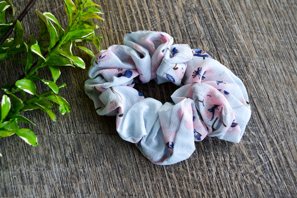 Scrunchie - Light Blue with Pink Blue Floral - Dream Lily Designs