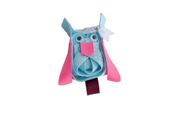 Animal and Bug Ribbon Sculpture Hair Clip - Light Blue Pink Owl - Dream Lily Designs
